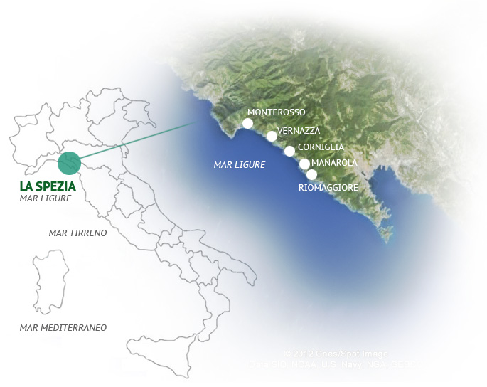 Mapa Le Cinque Terre Liguria.