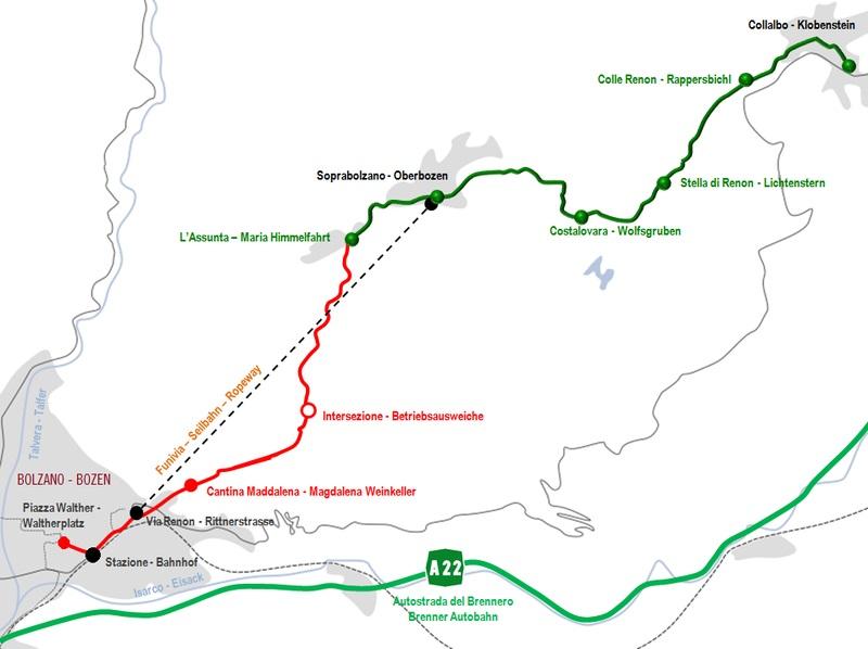 mapa teleférico y tren del Renon