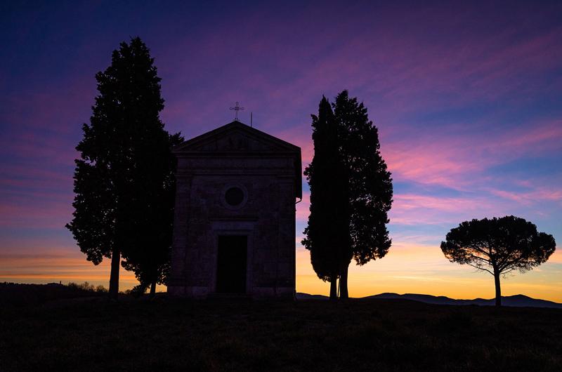 La Toscana de postal: capilla de Vitaleta.