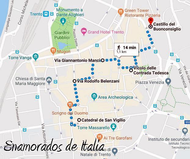 itinerario a pie desde plaza Duomo hasta castillo del Buonconsiglio, Trento.