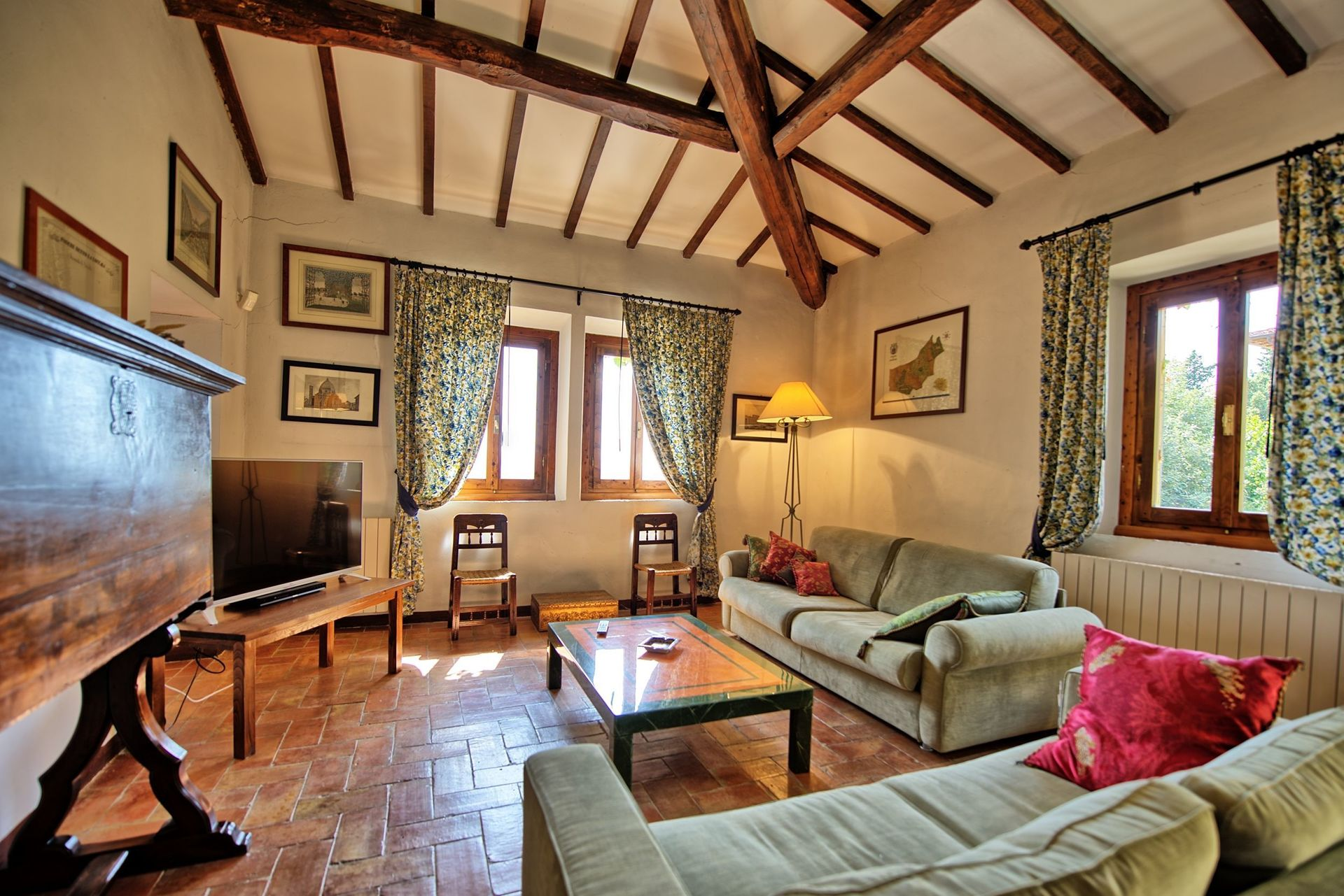 Tenuta di Bibbiano, salón en la casa dedicada a los turistas.