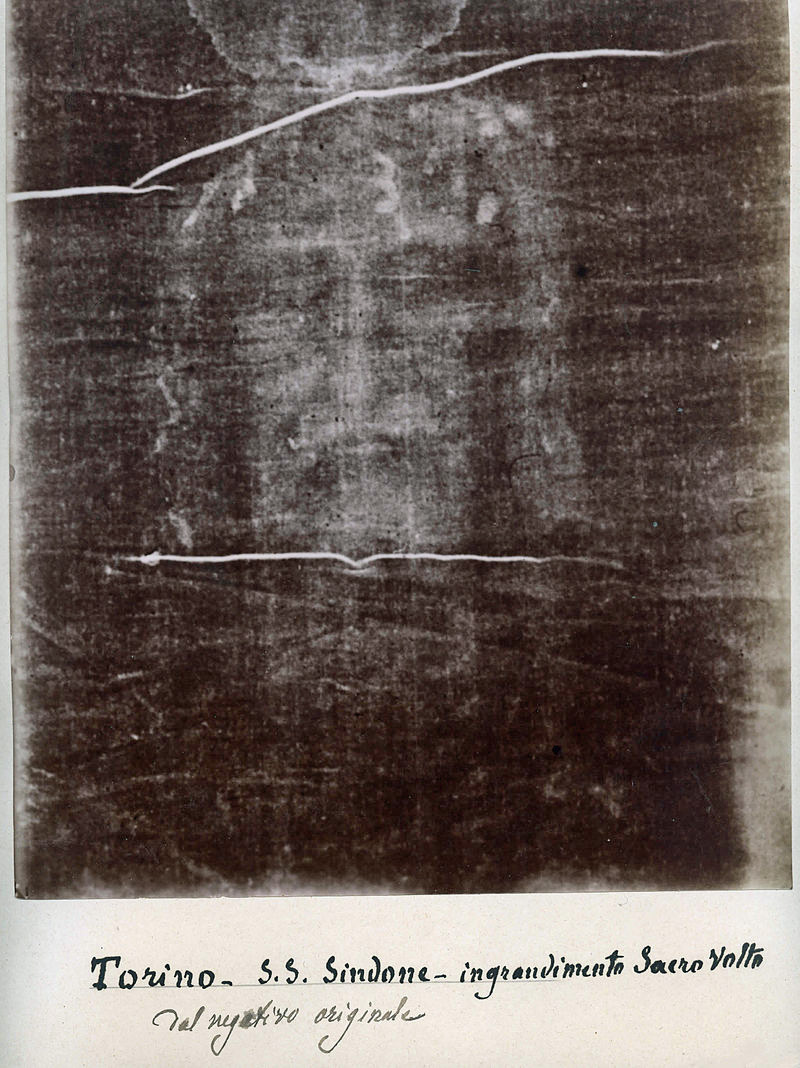 foto negativo sabana santa Turin autor Secondo Pia en 1898