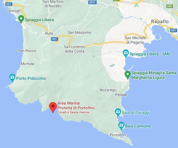 Turismo en Liguria. Zona marina protegida de Portofino.
