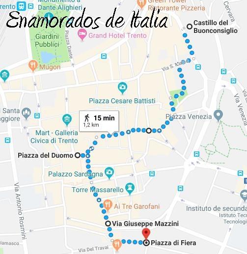 itinerario a pie desde el castillo del Buonconsiglio a Piazza Fiera, Trento