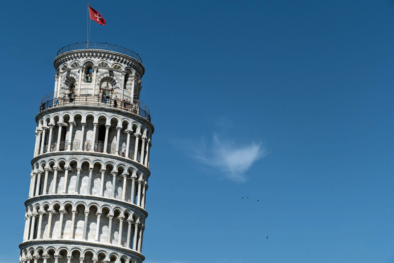 La torre inclinada de Pisa.